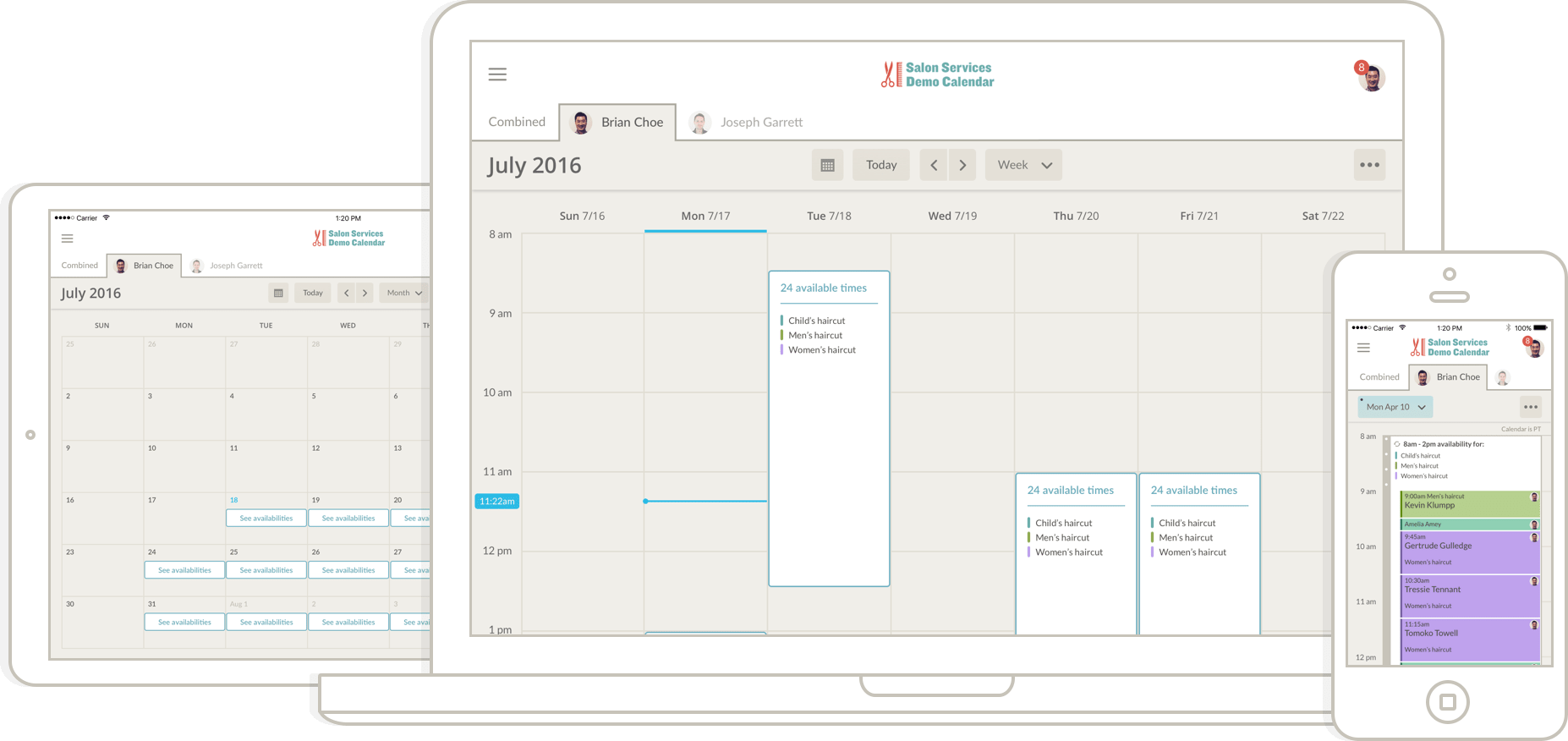 app calendar interface